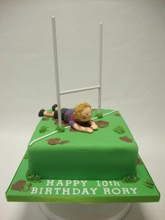 """Rugby Pitch Cake Small I like this idea, but to have child as """"noah"""" a little more personalised. Halloween Cookie Recipes, Halloween Cookies Decorated, Halloween Sugar Cookies, Halloween Treats, Halloween Halloween, Spooky Treats, Decorated Cookies, Boys 16th Birthday Cake, Adult Birthday Cakes"""