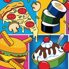 This colorful pop art food montage features some of my favorite foods. Art Institute Of Pittsburgh, Pop Art Food, Pop Art Party, Pop Art Wallpaper, Sketchbook Project, Thing 1, Gcse Art, Diy Canvas Art, Elementary Art
