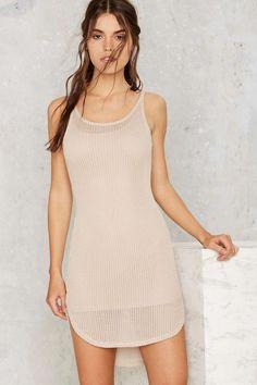 Nasty Gal beige crochet sheer tank mini dress