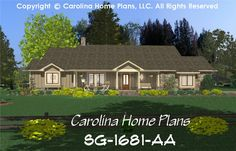CHP-SG-1681-AA <br />Small Country Ranch Style House Plan<br />3 Bedrooms, 3 Baths, 1 Story