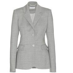 Altuzarra Fenice Wool Blazer (€1.350) ❤ liked on Polyvore featuring outerwear, jackets, blazers, grey, altuzarra, gray wool blazer, grey jacket, woolen jacket and grey blazer