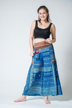 Traditonal Prints Thai Hill Tribe Fabric Womens Palazzo Pants Blue