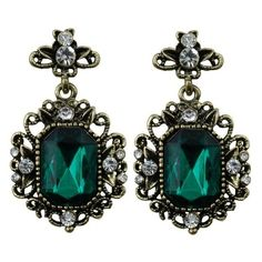 Emerald Green Gothic Surround Drop Earrings