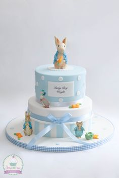 1 Layer Baby Shower Cakes And 3 Tips for Adorable Toppers Video Tutorial - Amazing Stories Baby Boy Christening Cake, Baby Boy Cakes, Cakes For Boys, Baby Shower Favors Girl, Baby Shower Cakes, Baby Boy Shower, Peter Rabbit Cake, Peter Rabbit Birthday, Boys 1st Birthday Cake