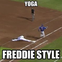 Freddie Freeman stretches to make the play at first!