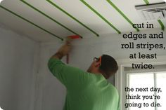how to paint stripes on ceiling