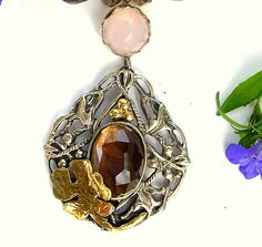 Items similar to Sea of Galilee at sunset, Silver Gold Semiprecious stones Necklace silver pendant set with a big brown stone decorated with a gold Fig leaf on Etsy Leaf Jewelry, Stone Jewelry, Jewelry Shop, Jewelry Design, Jewelry Ideas, Stone Beads, Stones, Israeli Jewelry
