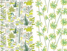 Printed on cotton, Kauriin Kääntöpiiri and Kevätesikko Fabrics by Marimekko via Textile Source Blog