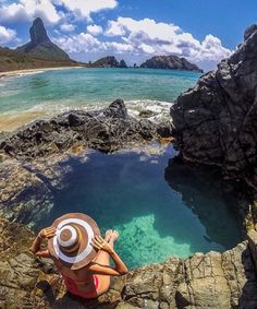 In the beautiful natural pools of Fernando de Noronha, PE, Brazil - Adventure Places To Travel, Places To See, Wonderful Places, Beautiful Places, Brazil Travel, South America Travel, Beach Photos, Wonders Of The World, Travel Photos