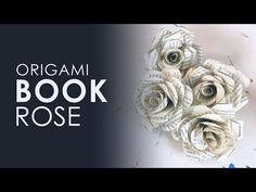 Papier Origami E book Rose Folded Book Art, Paper Book, Book Folding, Paper Roses Tutorial, Book Page Flowers, Book Page Crafts, Old Book Crafts, Bookbinding Tutorial, Origami And Kirigami