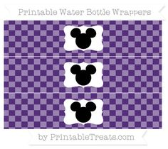 Free Royal Purple Checker Pattern Mickey Mouse Water Bottle Wrappers