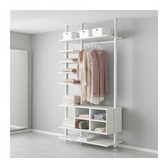 IKEA - ELVARLI, 2 section shelving unit, You can always adapt or complete this open storage solution as needed. Maybe the combination we've suggested is perfect for you, or you can easily create your own.Adjustable shelves and clothes rail make it easy for you to customize the space according to your needs.You can use the insert with open compartments or place an ELVARLI drawer into it for more storage possibilities.You choose if you want to place the open storage solution against a wall or…