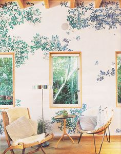 floral wallpaper with mid-century modern twist