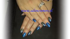 blue with gold glitters nails nail art