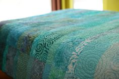 Quilt -  large queen size -  ocean rain - made to order via Etsy