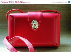 Upcycled Purse Red Gold Rhinestone Accents by YoursOccasionally, $22.10