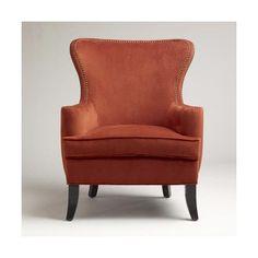 Seating - Nutmeg Elliott Wingback Chair | World Market - nutmeg, elliot, wingback, chair found on Polyvore