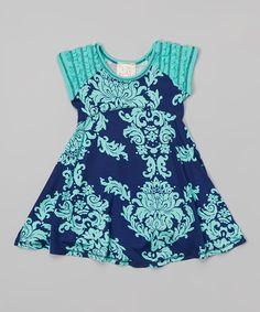 Look at this Navy & Jade Damask Ruffle Raglan Dress - Toddler & Girls on #zulily today!