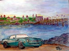 My 81 Camaro in St Augustine this is the vision I have for it completed. (Watercolor and Pencil) 2015