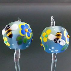 PIKALDA=handmade lampwork 2 earring pair glass beads flower bee=BLUE DAY=SRA