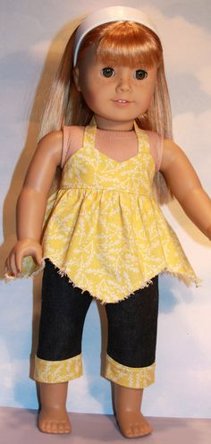 18 American Girl Doll Yellow Handkerchief Hem by SewLikeBetty, $18.00