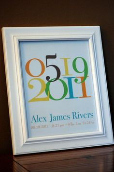 "Personalized Baby Gift Nursery Art Important Date Birth Date Custom Personalized Baby Name BIrthdate Nursery Print (Boy)- 8""x10"""