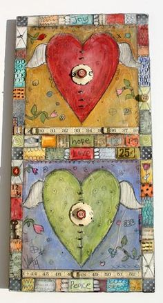 Lisa Kaus - this is not an art journal or art journal page, but i love it as an idea to work off of for one.  :)  i love this artist's works.  she is great fun.  check out her gallery.  :)