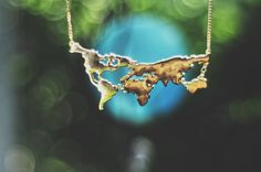 world map necklace.