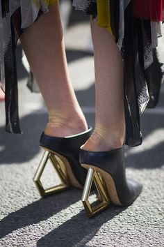 Geometic heeled mules. #StreetStyle accessories at Paris Fashion Week #PFW