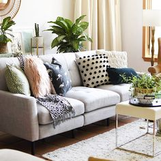 Layered pillows - living room decor.
