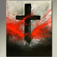Abstract Canvas Art Painting - 18x24 Contemporary Modern Original Cross Art by Destiny Womack - dWo - Forgiven on Wanelo