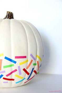 Rainbow Washi Tape Pumpkin - 101 Fabulous Pumpkin Decorating Ideas - Photos