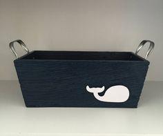 Nautical Nursery. Etsy listing at https://www.etsy.com/listing/234288198/nautical-storage-navy-whale-bin-nautical