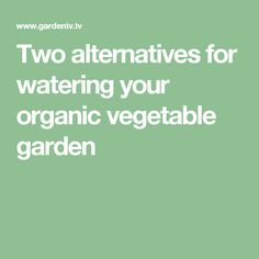 Two alternatives for watering your organic vegetable garden