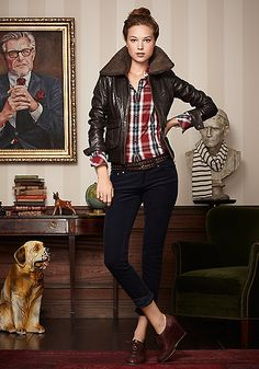 plaid shirt + dark skinny jean + leather bomber jacket + chunky oxford