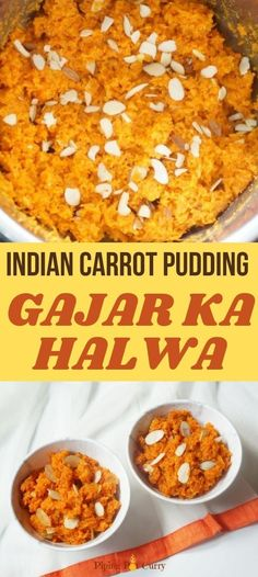 Instant Pot Carrot Halwa or Gajar ka halwa, is a delicious dessert made with grated carrots, milk, sugar, cardamom and almonds. | Instant Pot Indian Desserts | Healthy Dessert Recipes | Instant Pot Carrot Pudding | #carrotkheer #instantpotindian | pipingpotcurry.com Vegetarian Breakfast Recipes, Healthy Dessert Recipes, Sweets Recipes, Cooking Recipes, Delicious Desserts, Lentil Recipes, Curry Recipes, Indian Desserts, Indian Food Recipes