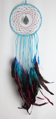 Turquoise and Pink Dream Catcher with Swarovski Crystals, a Dragon Vein Agate Pendant, and Blue & Pink Feathers