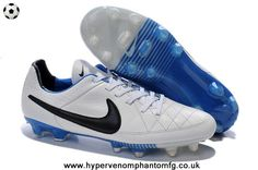 d6b946e5c155 New Nike Tiempo Legend V FG (White Black Blue) Soccer Cleats