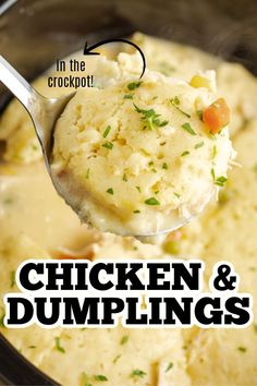 This crockpot chicken and dumplings recipe is creamy, hearty and delicious with a to-die-for gravy and the perfect balance of protein and vegetables. Crockpot Chicken And Dumplings, Homemade Dumplings, Dumpling Recipe, Slow Cooker Recipes, Crockpot Recipes, Chicken Recipes, Cooking Recipes, Slow Cooking, Primal Blueprint Recipes