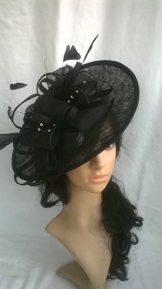 Black Fascinator.. Black Feather Sinamay Fascinator Hat on a Headband Black  Fascinator 4f9ac2bbfac4