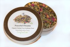 Organic Ingredients: Chamomile flowers, Peppermint Leaves, Chocolate Mint Leaves, Rose Petals, Rose Hips, Lemon Balm Leaves, Ginger  Organic Peaceful Dreams Loose Leaf Tea Tin 20 cups di TheCozyLeaf, $5.99