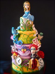 Alice In Wonderland Cake ~ One Layer makes u Larger & One Layer makes u Small. And the ones that Mother gives u don't do anything at all. Go ask Alice when she's Ten Feet. From Eating that whole cake, U Guys! Fancy Cakes, Cute Cakes, Beautiful Cakes, Amazing Cakes, Mad Hatter Cake, Alice In Wonderland Cakes, Cake Wrecks, Disney Cakes, Novelty Cakes