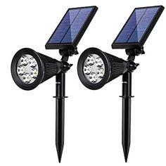 Albrillo 5 LED Solar Powered Spotlight Landscape Lights Outdoor Waterproof Wall Security Sensor Lighting for Patio Garden Lawn 2 Pack