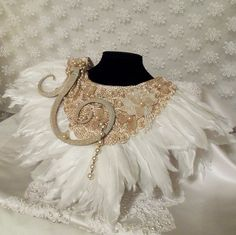 White Feather Necklace, Statement Haute Couture Collar, Bridal Bib Accessory, OOAK, Avant Garde. $237.00, via Etsy.