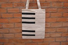 Hand painted canvas tote bag Piano Keys by Hojitas on Etsy, $14.00