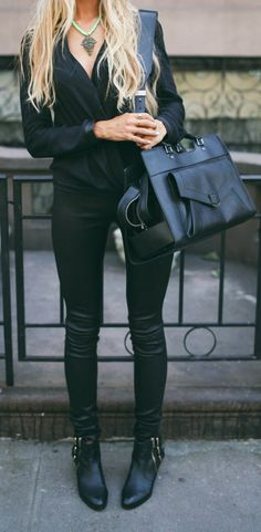 Can't wait for fall and winter so I can get back to sporting the lovely black on black. Womens fashion // black on black // fashion #fashiontrendsandmore