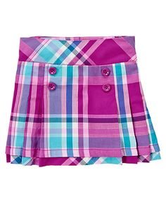 Princess Purple Plaid  100% brushed cotton twill Features button accents and pleats Invisible side zipper; adjustable waist feature for all sizes Built-in shorts Above-the-knee length Machine washable; imported Collection Name: Sparkle Kitty