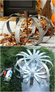 20 DIY Outdoor Fall Decorations Thatll Beautify Your Lawn And Garden - Easy diy projects! Metal Pumpkins, Fall Pumpkins, Fall Crafts, Diy Crafts, Garden Crafts, Garden Tips, Holiday Crafts, Fall Projects, Diy Projects