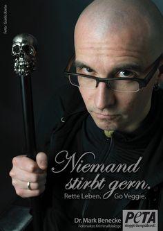 """Dr. Mark Benecke: """"Niemand stirbt gern. Rette Leben - Go Veggie."""""""