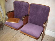 Salvaged cinema chairs - reupholstered
